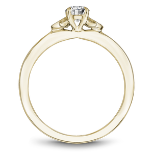 One Love Diamond Floral Engagement Ring In 14K Yellow Gold