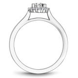 One Love Diamond Halo Engagement Ring In 14KW Smooth Shank