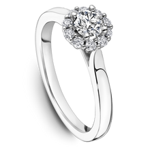 Load image into Gallery viewer, One Love Diamond Halo Engagement Ring In 14KW Smooth Shank