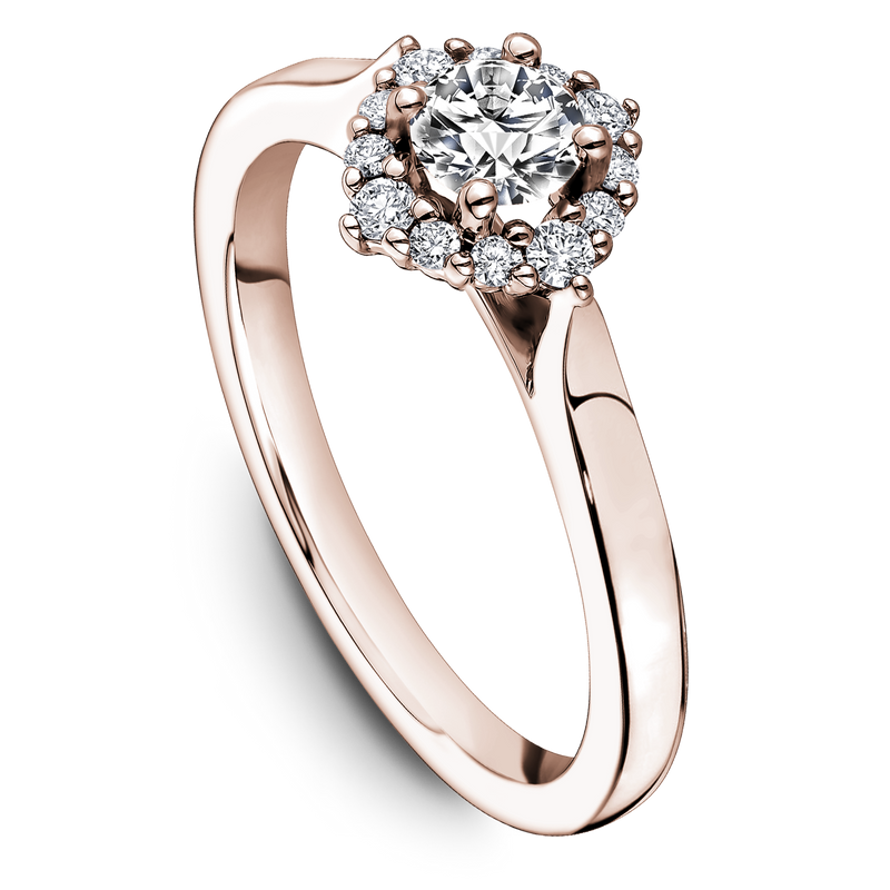 One Love Diamond Halo Engagement Ring In 14K Rose Gold