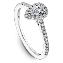 Load image into Gallery viewer, One Love Pear-Shaped Diamond Halo Engagement Ring In 14K White Gold