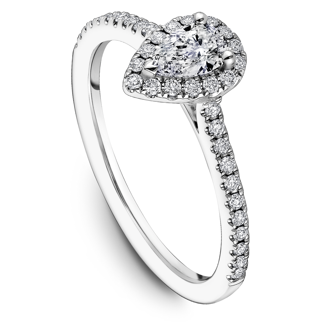 One Love Pear-Shaped Diamond Halo Engagement Ring In 14K White Gold
