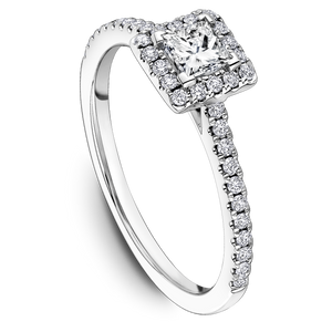 One Love Diamond Square Halo Engagement Ring In 14K White Gold