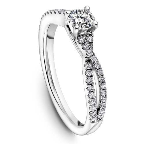 One Love Diamond Split Shank Engagement Ring In 14K White Gold