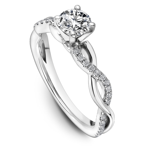 One Love Diamond Twist Engagement Ring In 14K White Gold