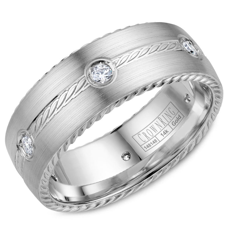 Classic 8mm Wedding Band Rope Edging And 6 Diamonds