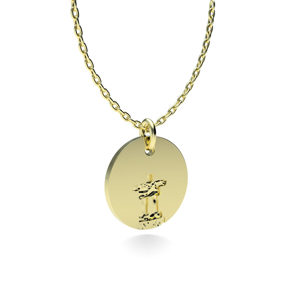 Yellow Gold Plated Silver Inukshuk Pendant with 18'' Chain