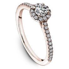 Load image into Gallery viewer, One Love Diamond Halo Engagement Ring In 14K Rose Gold With Side Diamonds