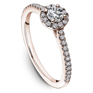 One Love Diamond Halo Engagement Ring In 14K Rose Gold With Side Diamonds