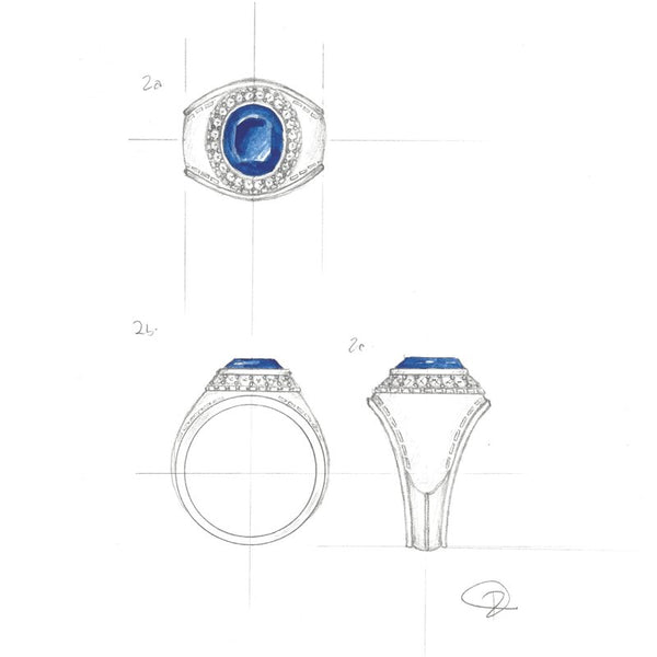 Custom Design Unheated Vivid Blue Sapphire Platinum Ring