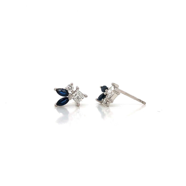 14KW Sapphire & Diamond Earrings