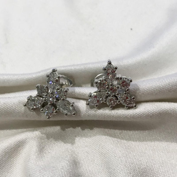 Custom Design Multi-Diamond White Gold Earrings