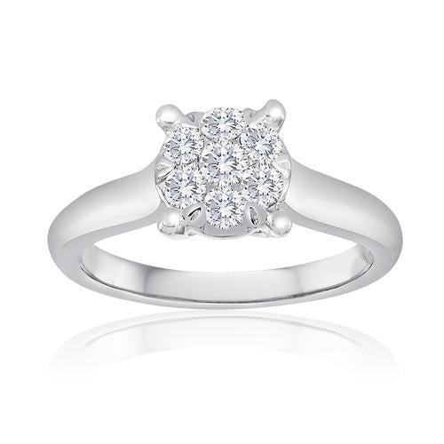 14k White Gold 0.50ct Multi Diamond Invisible Set Solitaire Style Engagement Ring