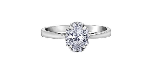 18k White Gold 0.50ct Oval Diamond Halo Engagement Ring