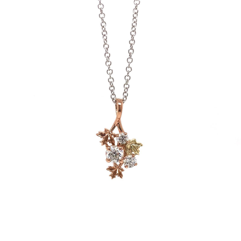 14K Tri-Gold Maple Branch Diamond Necklace (Chain Included)
