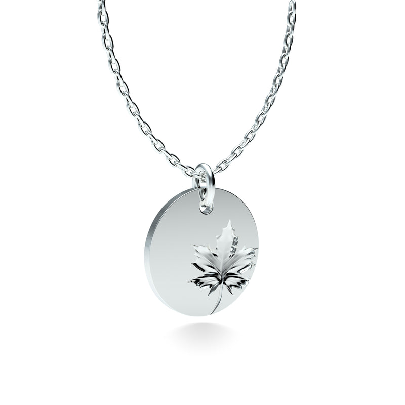 Rhodium Plated Silver Maple Leaf Pendant with 18'' Chain