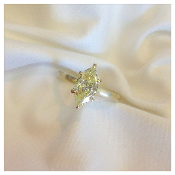 Custom Design Yellow Diamond Solitaire Engagement Ring