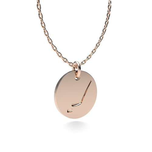 Rose Gold Plated Silver Hockey Pendant with 18'' Chain *PRE-ORDER NOW*