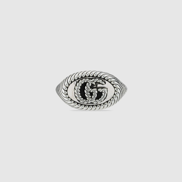 Gucci Aged Silver 9mm Chevalier GG Marmont Ring