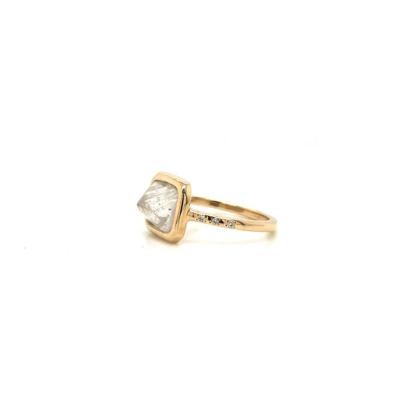 14KY 1.95ct Rough Diamond Ring with Pave Shank
