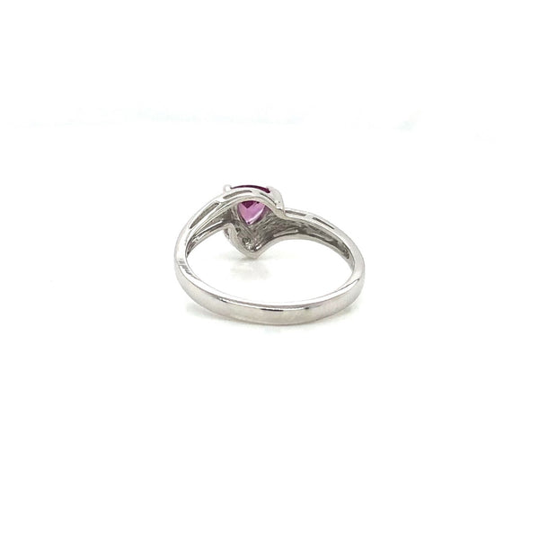 14K White Gold Trillion Pink Rhodolite Ring with Diamonds