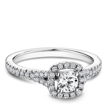 Load image into Gallery viewer, One Love Diamond Halo Engagement Ring In 14KW Split Shank