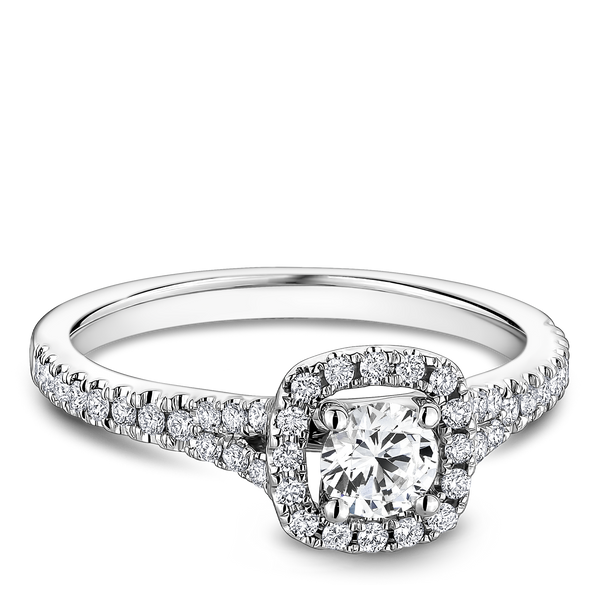 One Love Diamond Halo Engagement Ring In 14KW Split Shank