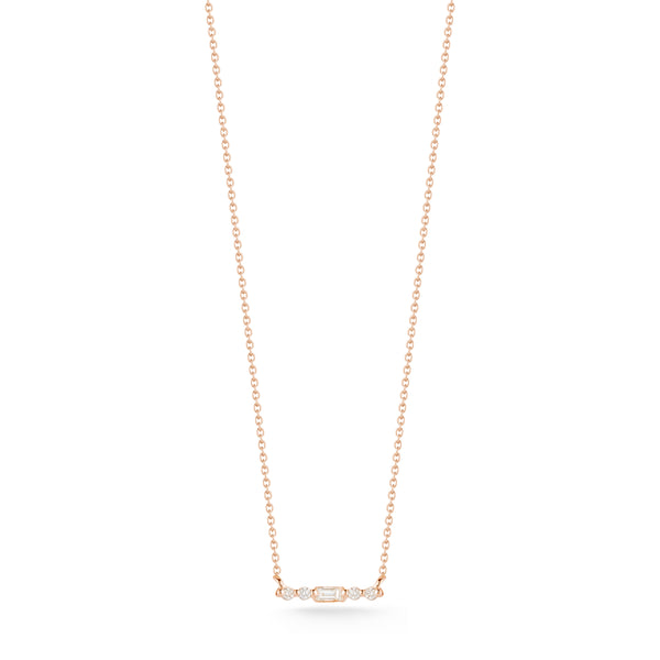 Dana Rebecca Sadie Pearl 14K Rose Diamond Bar Pendant