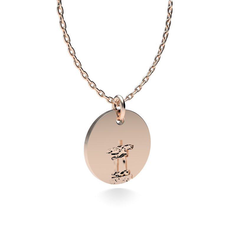 Rose Gold Plated Silver Inukshuk Pendant with 18'' Chain