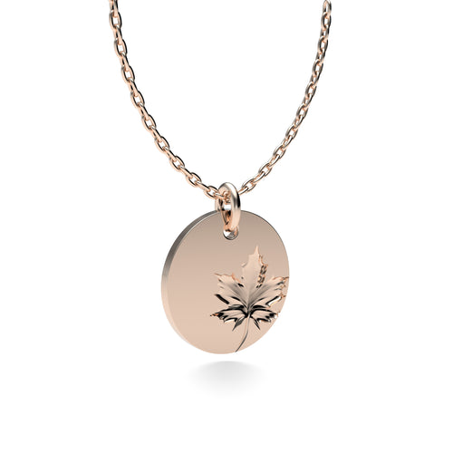 Rose Gold Plated Silver Maple Leaf Pendant with 18'' Chain