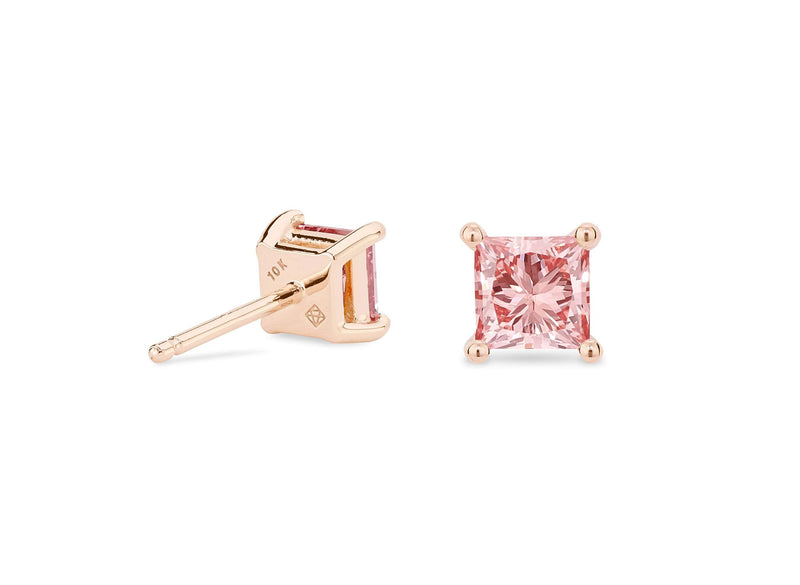Lightbox Jewelry 10KR Princess Studs 1ctw Pink
