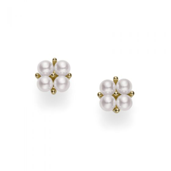 Mikimoto 18KY Akoya White Cluster Earrings