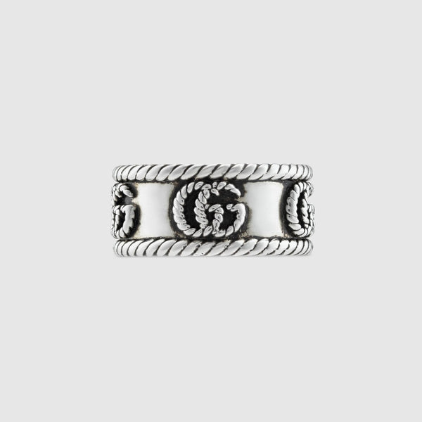 Gucci Aged Silver 9mm GG Marmont Band