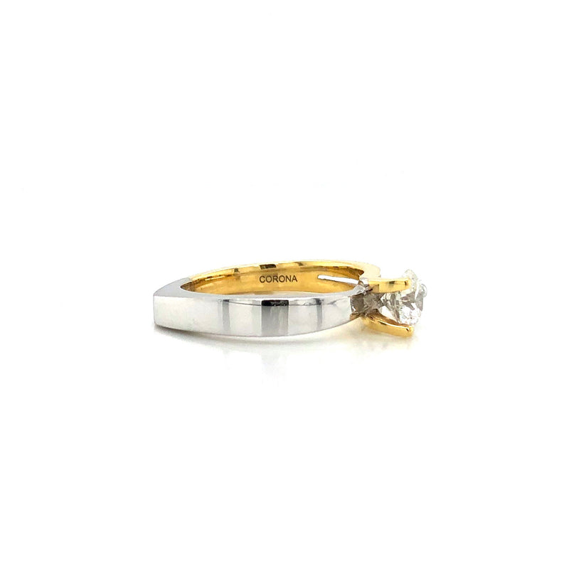 Two-Tone 18k Gold Interlocking Canadian Diamond Solitaire Engagement Ring