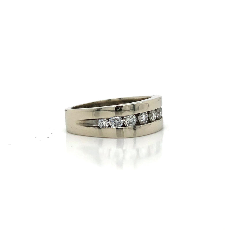 14k White Gold Channel Set Diamond Pinky Ring