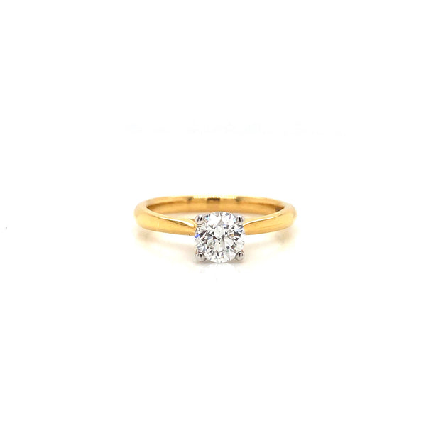18K Yellow & White Gold Solitaire Engagement Ring