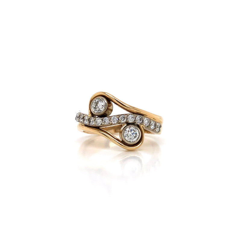 Abstract Two Stone Yellow and White Gold Diamond Ring