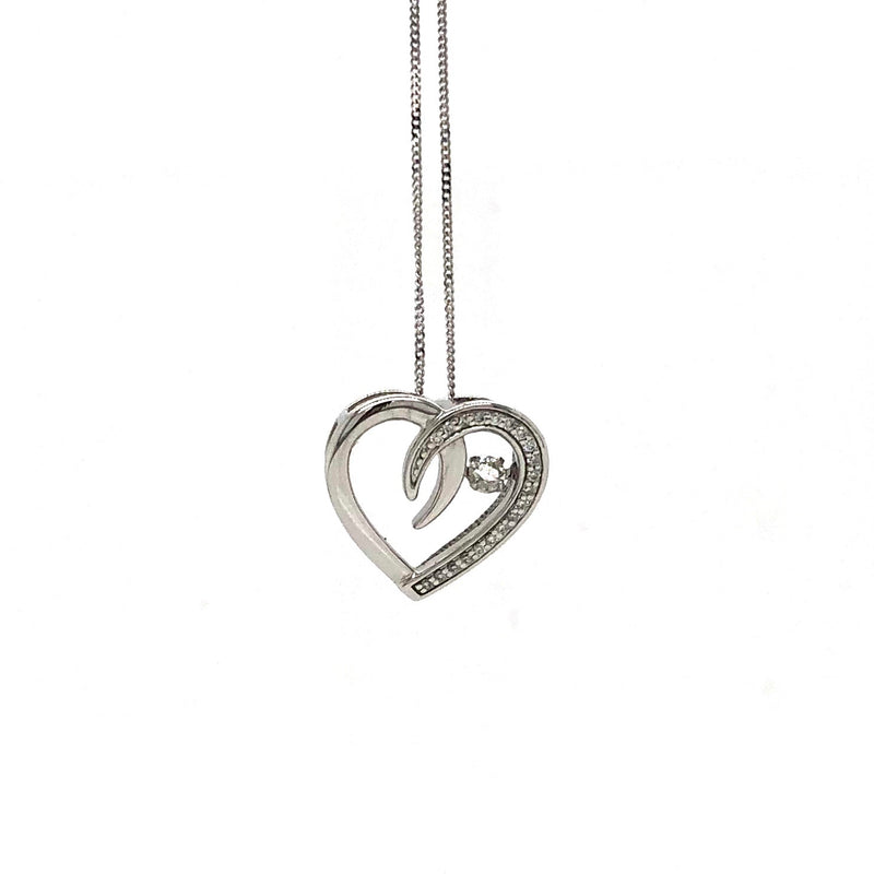 Classic 10k White Gold Heart Shaped Pendant and Chain Necklace with Pulse Diamond
