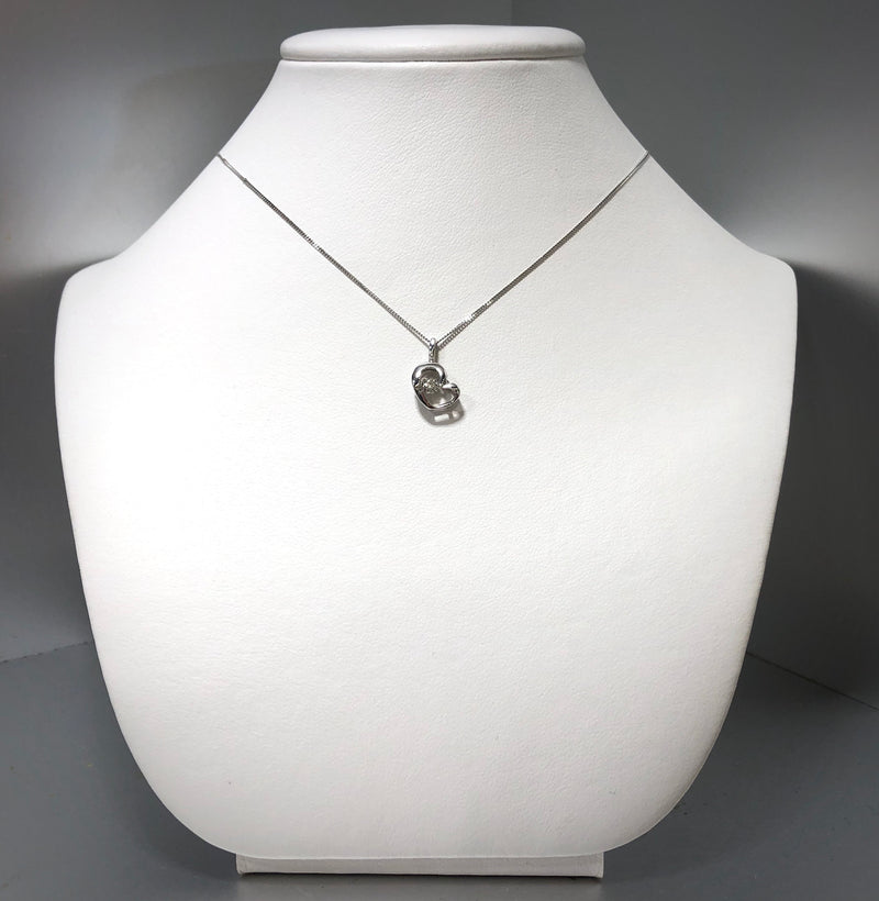 Delicate 10k White Gold Heart Necklace with Pulse Diamond