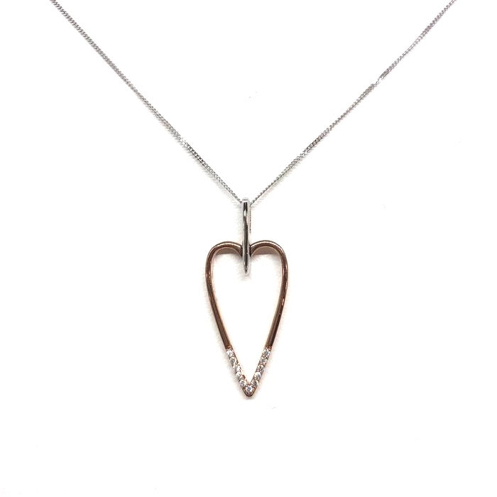 10K White & Rose Gold Diamond Heart Pendant