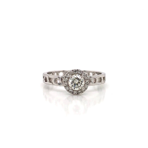 18k White Gold Halo Engagement Ring with Ornate Band Detailing