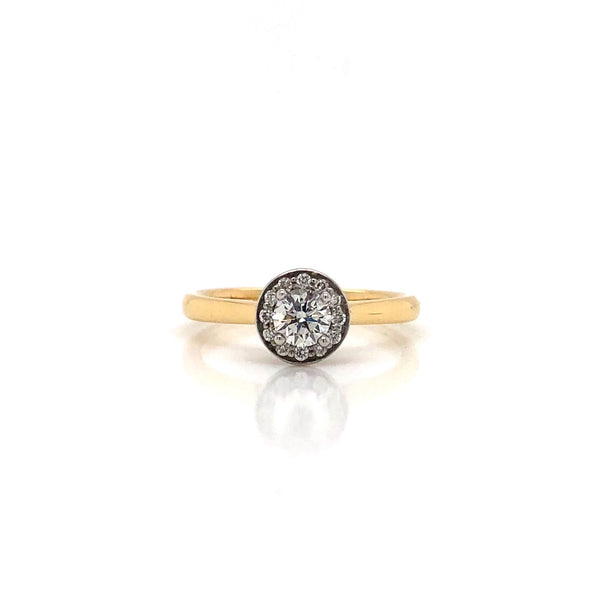 Two-Tone 14k White and Yellow Gold Canadian 0.33ct Diamond Halo Engagement Ring