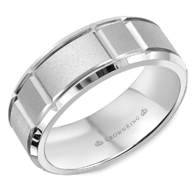 Classic 7mm Wedding Band With Fine Sandblast Finish And Cut Edges