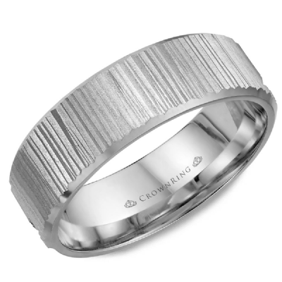 Classic 6mm Wedding Band Sandblasted Top With Bevel Edges