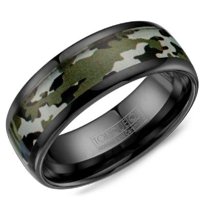 Black Ceramic Ring With Camo Pattern Inlay