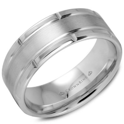 Classic 8mm Wedding Band Sandpaper Finish With High Polish Sides