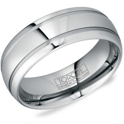8mm Wide Tungsten Carbide Ring High Polish With Two Grooves