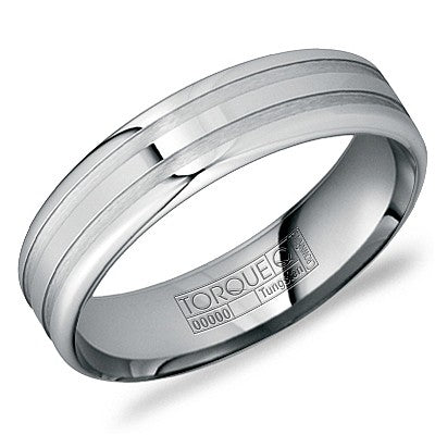 6mm Wide Tungsten Carbide Ring With Brushed Grooves And High Polished Edges