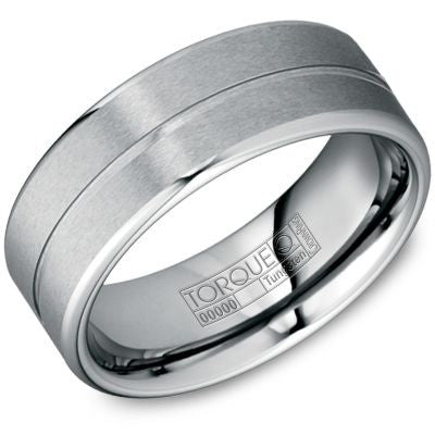 8mm Wide Tungsten Carbide Ring All Brushed With Groove