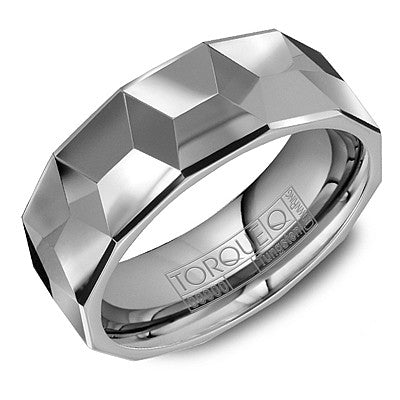 8mm Wide Tungsten Carbide Ring With Pattern